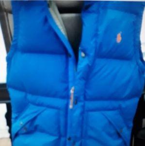 Blue Ralph lauren hooded,bubble vest